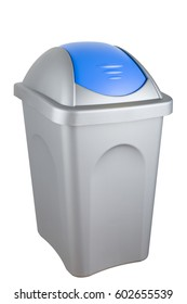Selective trash can made of gray plastic