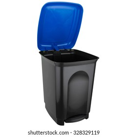 Selective trash can with pedal made of black plastic with blue lid open
