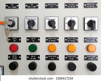 Selector switch and push button switch reset with lamp status for electrical control panel
