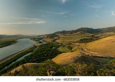 Selenga river at sunset