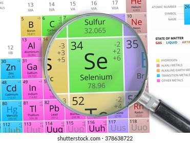 Selenium - Element of Mendeleev Periodic table magnified with magnifying glass
