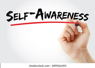 Self - Awareness text with marker, concept background