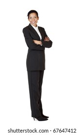 Self confident business woman smiles happy into camera. Isolated on white background.