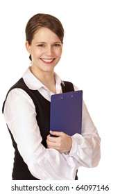 Self confident smiling businesswoman with clipboard. Isolated on white background.