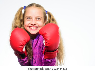 Self defence concept. Girl child strong with boxing gloves posing on white background. She ready to defend herself. Sport upbringing for girls. Feminist movement. Girl boxer knows how defend herself.