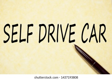 Self drive car text write on paper