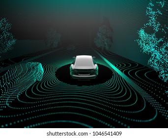 Self driving car 3D rendering