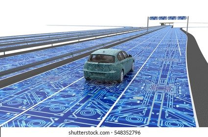 self driving electronic computer car on road, 3d illustration