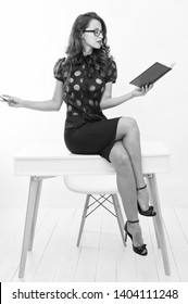 Self education concept. Business speaker. Business conference. Lady seductive business coach. Knowledge is my passion. Woman sexy attractive teacher or lecturer. Business lady smart office manager.