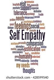 Self Empathy, word cloud concept on white background.
