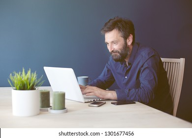 Self employed business person working from home