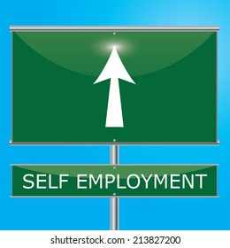 Self Employment Sign Illustration - Green road sign with arrow pointing onwards