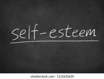 self esteem concept word on a blackboard background
