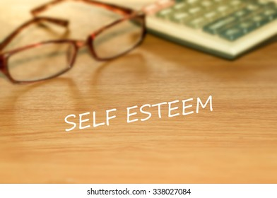 SELF ESTEEM message on the table
