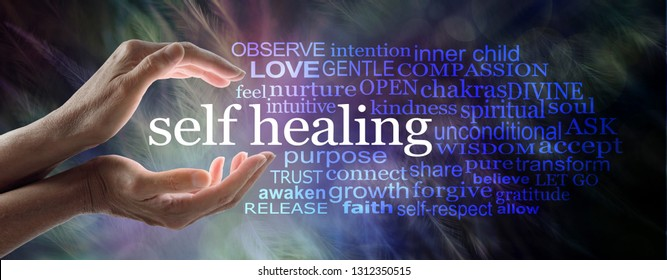 Self Help Healing Word Cloud - female cupped hands with SELF HEALING between and a relevant word cloud  against a feathered effect  background