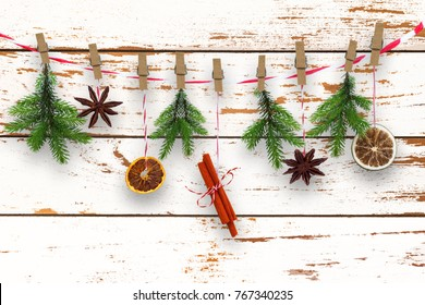 self made xmas decoration, with xmas spices on rustic wooden background