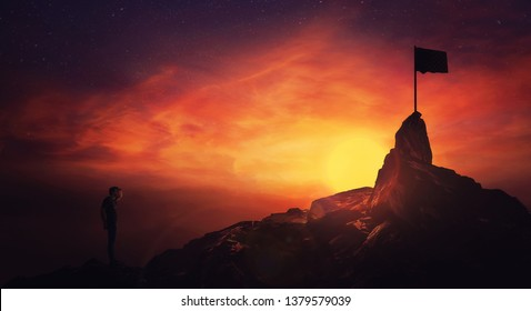Self overcome concept, climber man hand to forehead looking attentive to horizon finding the finish flag. Road to achieve success over sunset sky background. Life quest obstacles, reaching goals.