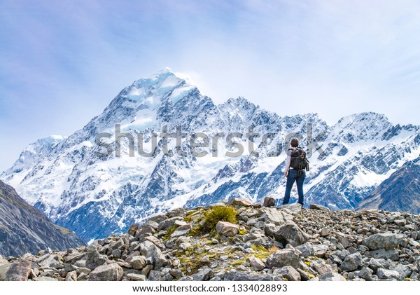 Self portrait of photographer in front of Mount Cook, Otago, New Zealand.