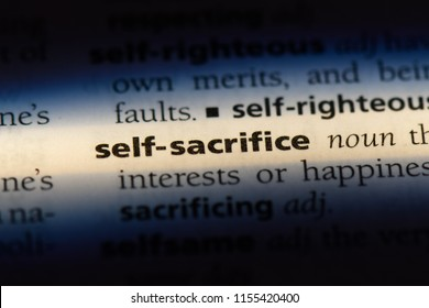 self sacrifice word in a dictionary. self sacrifice concept.
