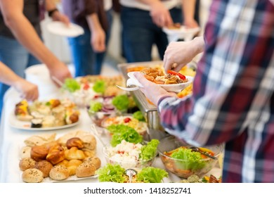 Self service buffet catering table.