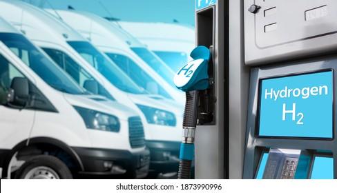 Selbstbedienende Wasserstofffüllstation auf dem Hintergrund von Lieferwagen