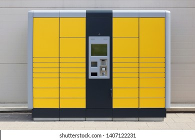 Self service modern mass production standard city terminal from which customers can pick up and ship mails and packages
