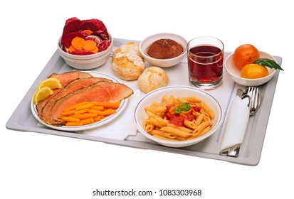 self service, plastic tray full of food, isolated on white,