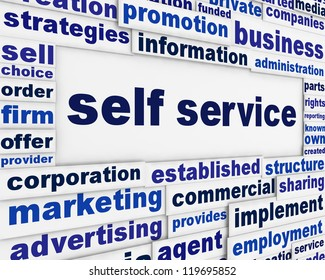 Self service slogan message background. Modern customer service poster design