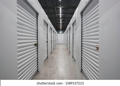 Self storage facility, metal doors with locks. Moving, storage concept.