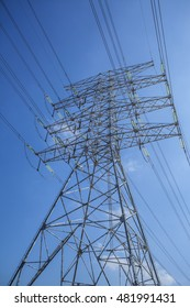 a self supporting transmission tower against blue sky