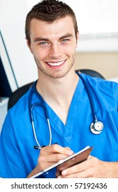 Self-assured doctor holding a clipboard and carrying a stethoscope against a white background