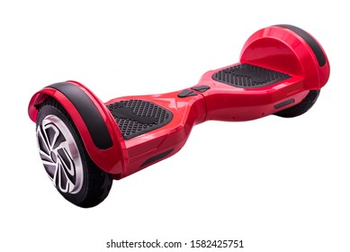 Self-balancing two-wheeled board or hoverboard scooter isolated on white background. Gyroboard: red gyroboard on white background. New movement