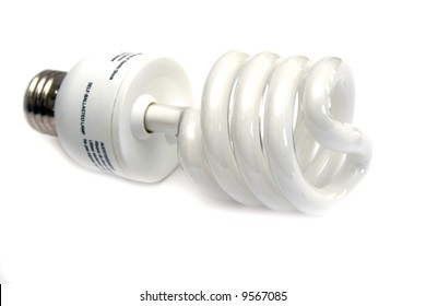 Self-ballasted fluorescent economical lamp with white background