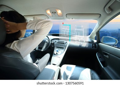 Self-driving autopilot mode, autonomous car, vehicle running self-driving mode and gps screen control