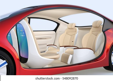 Self-driving car concept image. Front seats' back monitor showing digital interface which could connect to Internet. 3D rendering image.