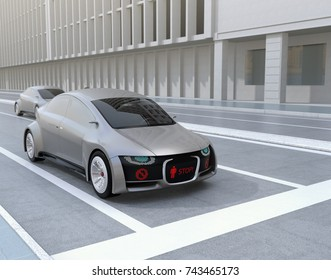 Self-driving car's front grille showing digital signage for pedestrian. Concept for communication between autonomous car and pedestrian. 3D rendering image.