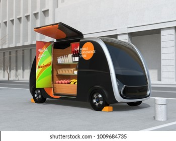Self-driving vending car parking on the street. The vending car is equipped with shelf for selling foods, drinks and grocery. Mobile convenience store concept. 3D rendering image.