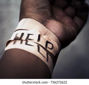 Self-harm cut wrist concept