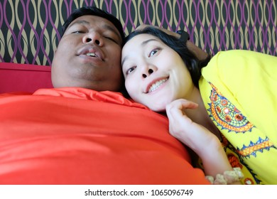 selfie Asian couple,making selfie on camera