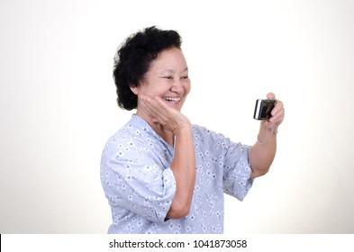 Selfie Asian Senior woman