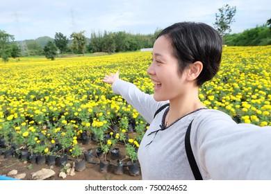 selfie Asian woman, self portrait