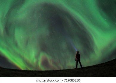 Selfie with Aurora Borealis (Northern Lights) during a Solar Storm in Western Iceland