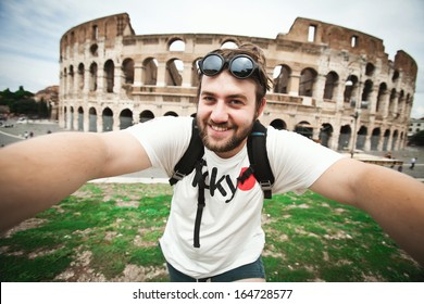 Selfie of a bearded man tourist in Rome, Italy