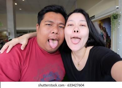 selfie couple,making selfie on camera