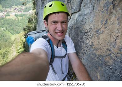 Selfie of a Dutch tourist at via Ferrata de Tiere (Champery, Switzerland)