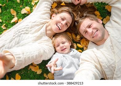 selfie family makes their lifestyle in the autumn