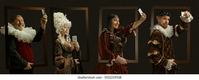 Selfie framing, devices. Medieval people as a royalty persons in vintage clothing on dark background. Concept of comparison of eras, modernity and renaissance, baroque style. Creative collage. Flyer