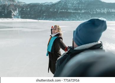 selfie in front of frozen lake