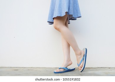 956963f6c4af Selfie Girl Slim Legs Blue Shoes and Dress Isolated on Concrete Floor. Woman  Standing Wearing