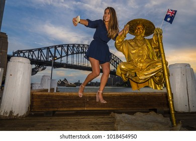 Selfie with one of the world's greatest levitation artists near Sydney Harbour Bridge, Australia